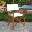 International Caravan 2-Piece Directors Chair with Mission Style Arms in Rustic Brown & Ivory