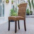 International Caravan 2-Piece Louisa Abaca Cushioned Seat Dining Chair in Salak Brown