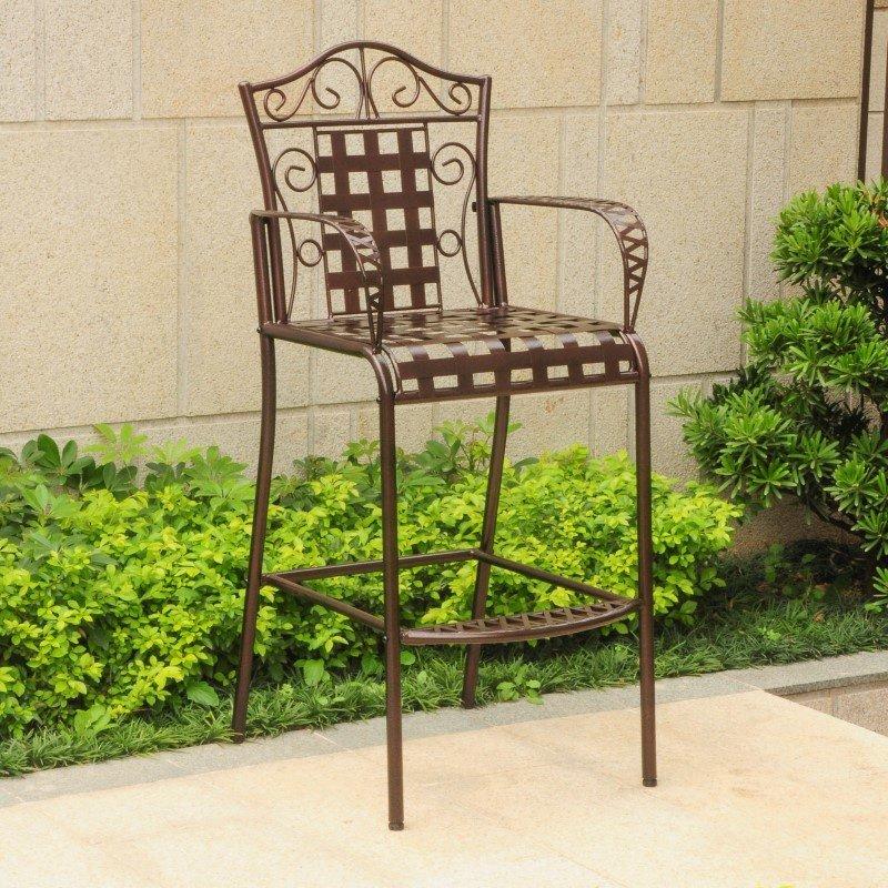 International Caravan 2-Piece Mandalay Iron Bar Height Chair in Bronze