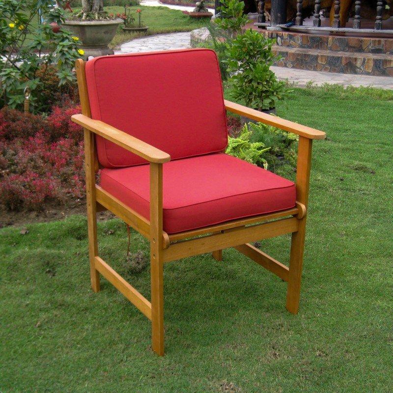 International Caravan 2-Piece Royal Tahiti Gulf Port Arm Chair with Ruby Red Cushions in Dark Honey/Ruby Red