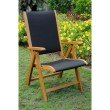 International Caravan 2-Piece Royal Tahiti Outdoor Wood 5-Position Folding Chair in Brown Stain