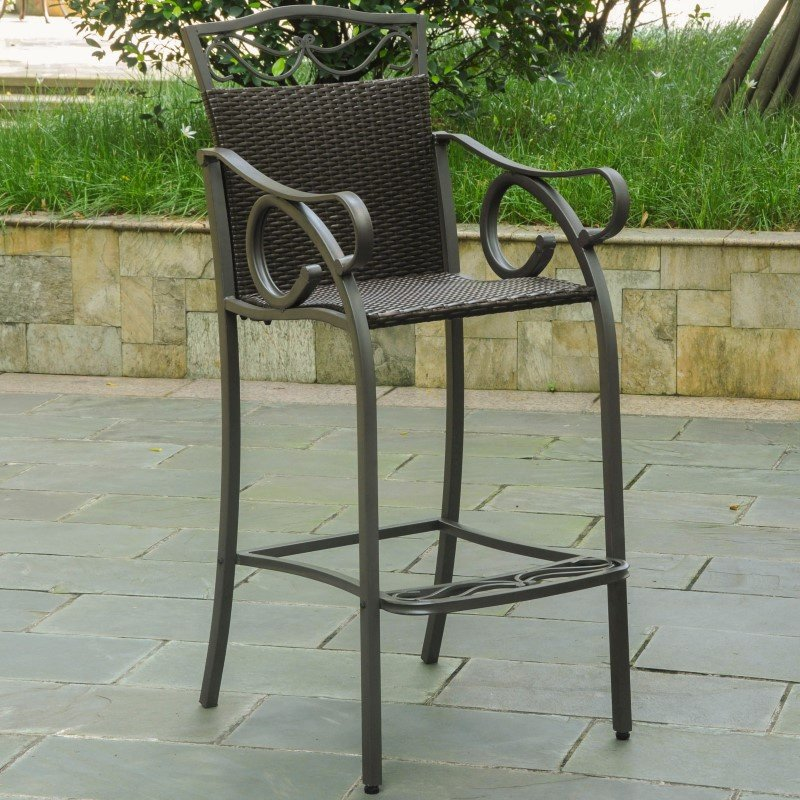 International Caravan 2-Piece Valencia Resin Wicker and Steel Bar Bistro Chairs in Chocolate