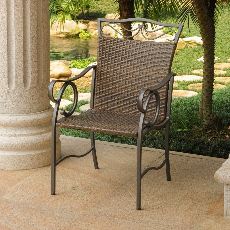 International Caravan 2-Piece Valencia Resin Wicker and Steel Chairs in Antique Brown