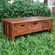 International Caravan 3-Drawer Bench with out Back in Brown