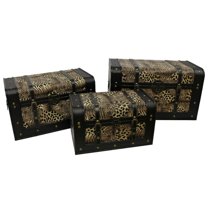 International Caravan 3-Piece Animal Print Trunks in Tiger with dark brown