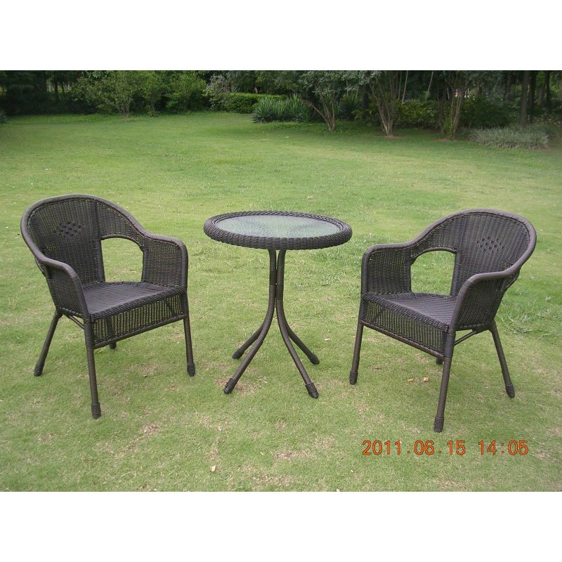 International Caravan 3-Piece Resin Wicker Bistro Set in Antique Black