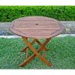 """International Caravan 38"""" Round Folding Table with Curved Legs in Brown"""