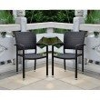International Caravan 4-Piece Barcelona Resin Wicker Square Back Dining Chair in Chocolate
