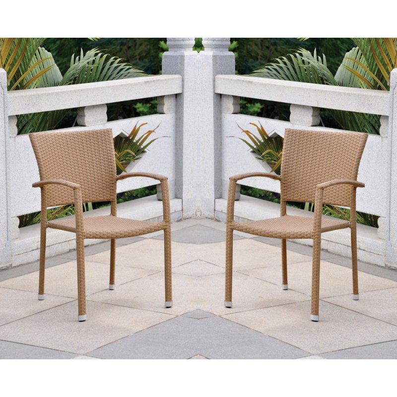 International Caravan 4-Piece Barcelona Resin Wicker Square Back Dining Chair in Honey