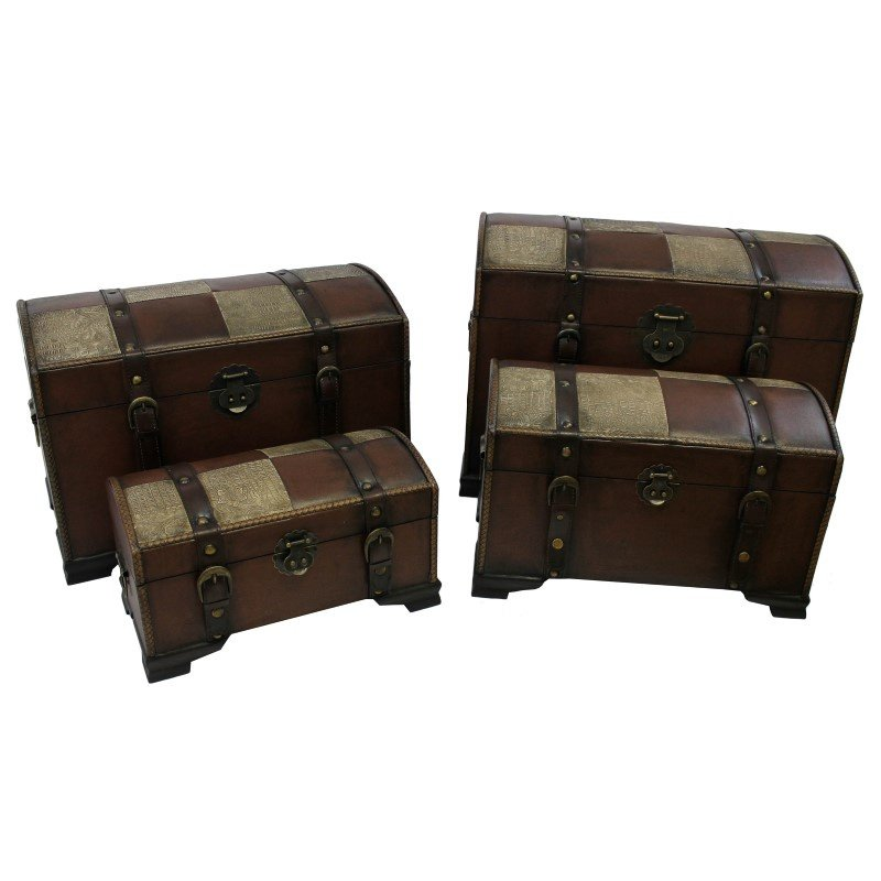 International Caravan 4-Piece Faux Leather Trunk Set in Saddle Brown