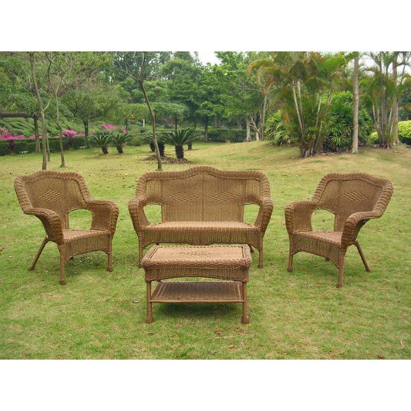 International Caravan 4 Piece Maui Outdoor Seating Set in Mocha