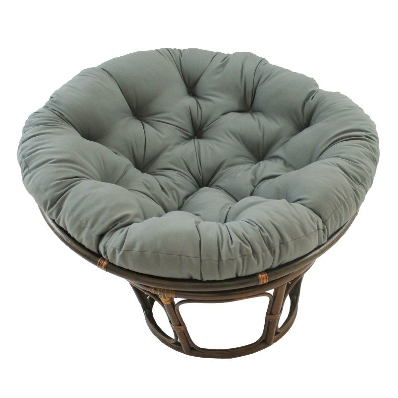 "International Caravan 42"" Rattan Papasan Chair with Solid Twill Cushion in Grey"
