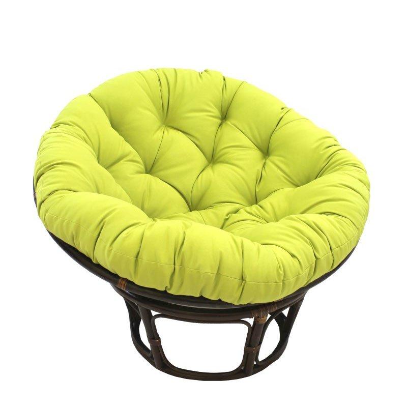 "International Caravan 42"" Rattan Papasan Chair with Solid Twill Cushion in Mojito Lime"