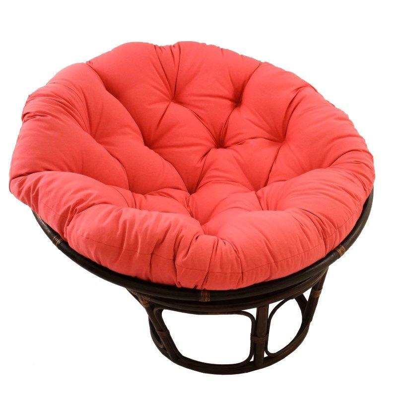 "International Caravan 42"" Rattan Papasan Chair with Solid Twill Cushion in Pink"
