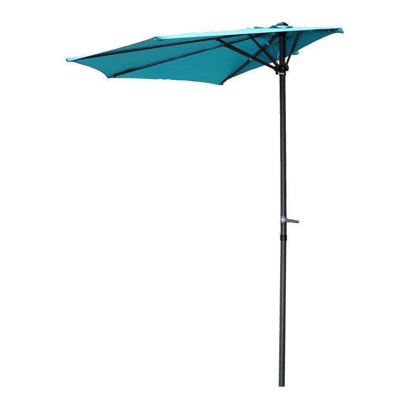 International Caravan 9' Half Round Wall Hugger Umbrella in Aqua Blue