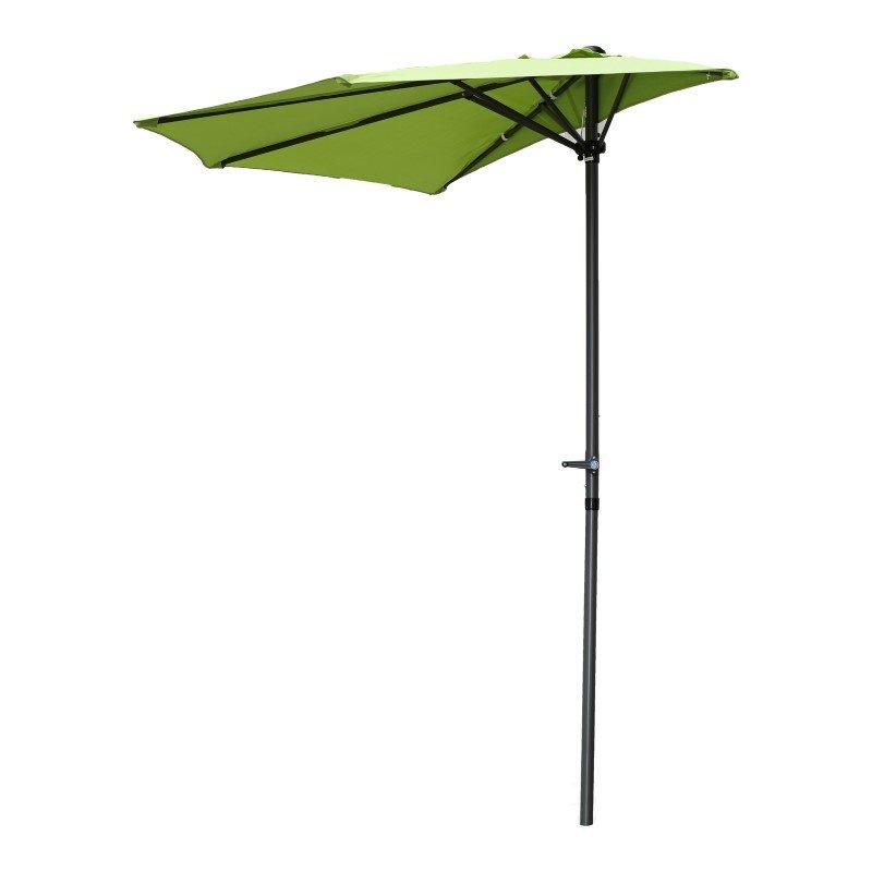 International Caravan 9' Half Round Wall Hugger Umbrella in Grass Green