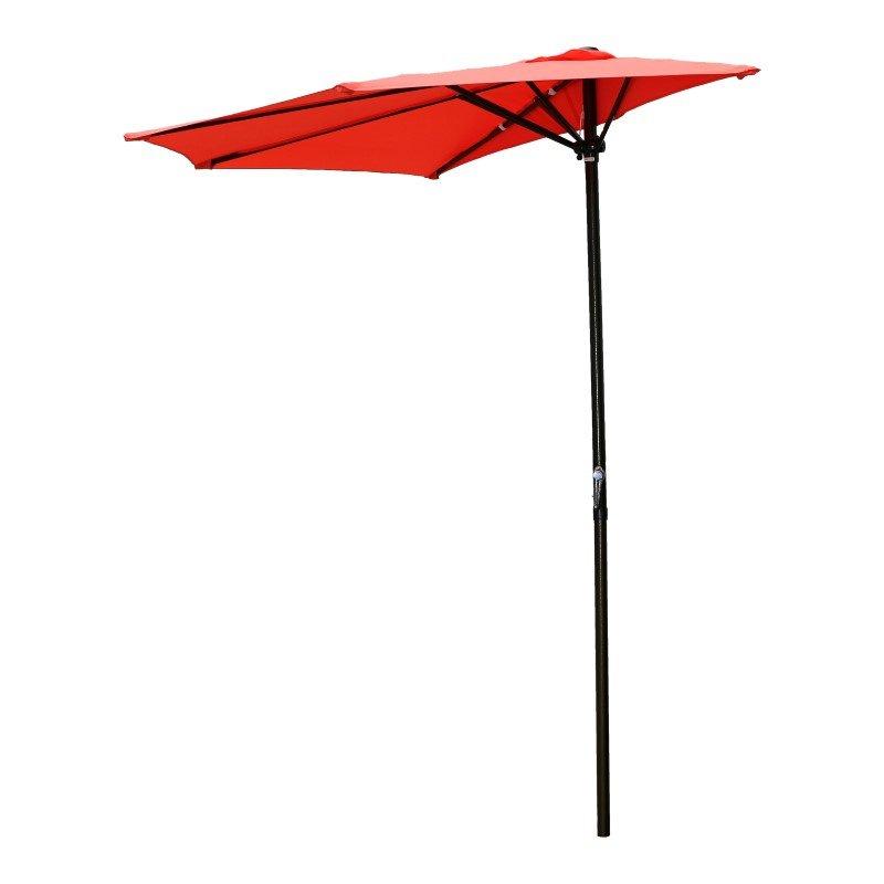 International Caravan 9' Half Round Wall Hugger Umbrella in Tangerine Dream