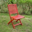 International Caravan Acacia 2-Piece Folding Ladder Back Chair with Barn Red Finish in Barn Red
