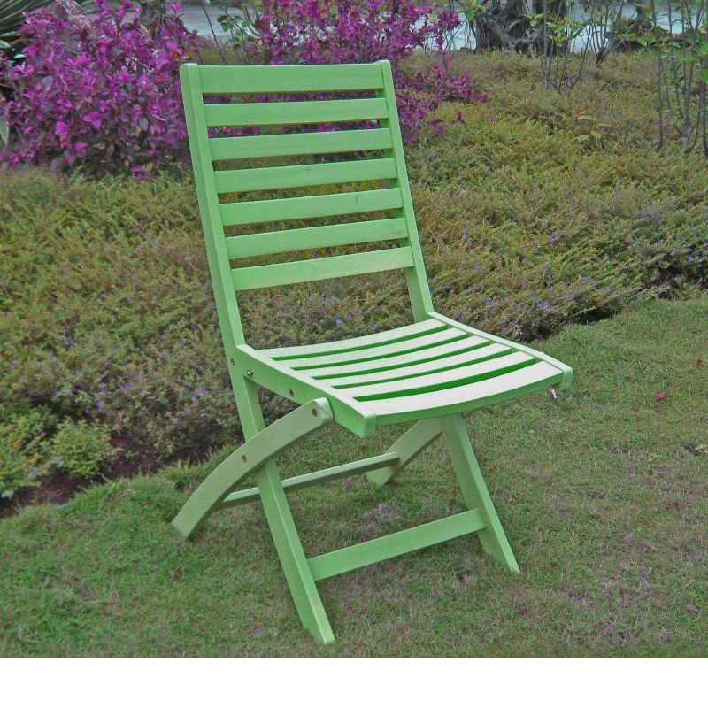 International Caravan Acacia 2-Piece Folding Ladder Back Chair with Mint Green Finish in Mint Green