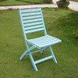 International Caravan Acacia 2-Piece Folding Ladder Back Chair with Sky Blue Finish in Sky Blue