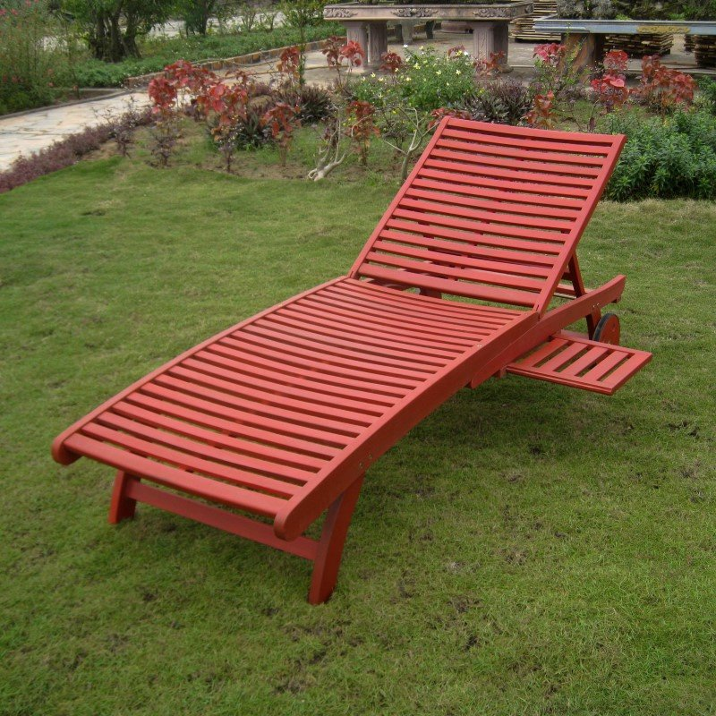 International Caravan Acacia Chaise Lounge with Pull Out Tray with Barn Red Finish in Barn Red