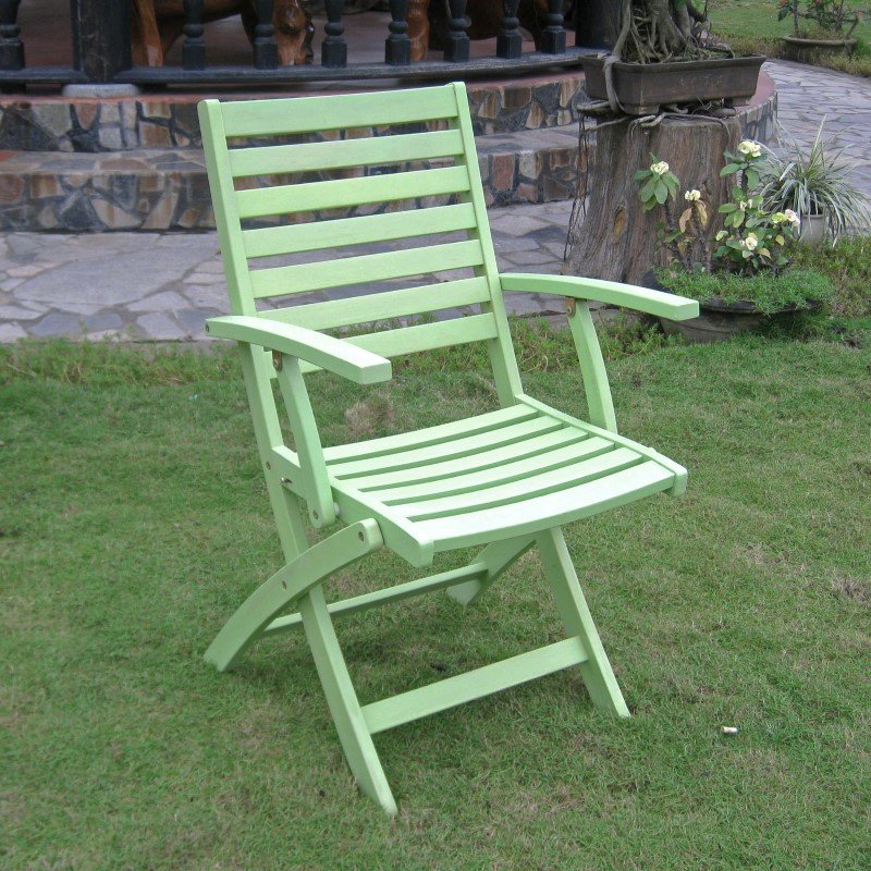 International Caravan Acacia Folding 2-Piece Ladder Back Armchair with Mint Green Finish in Mint Green
