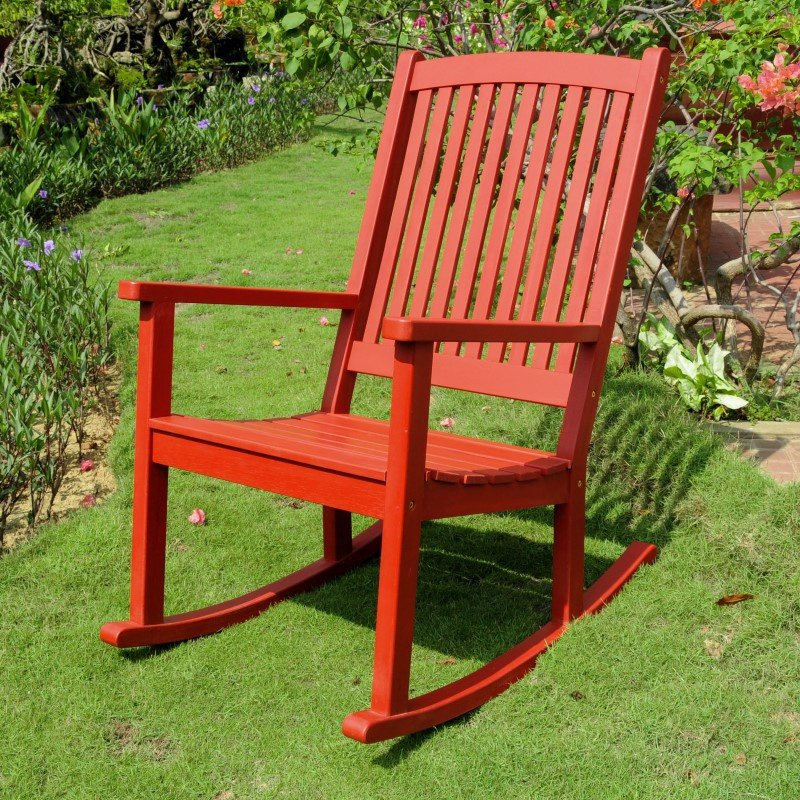 International Caravan Acacia Large Rocking Chair in Barn Red