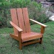 International Caravan Acacia Large Square Back Adirondack Chair in Rustic Brown