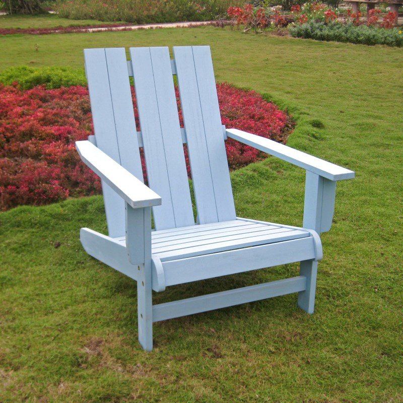International Caravan Acacia Large Square Back Adirondack Chair with Sky Blue Finish in Sky Blue