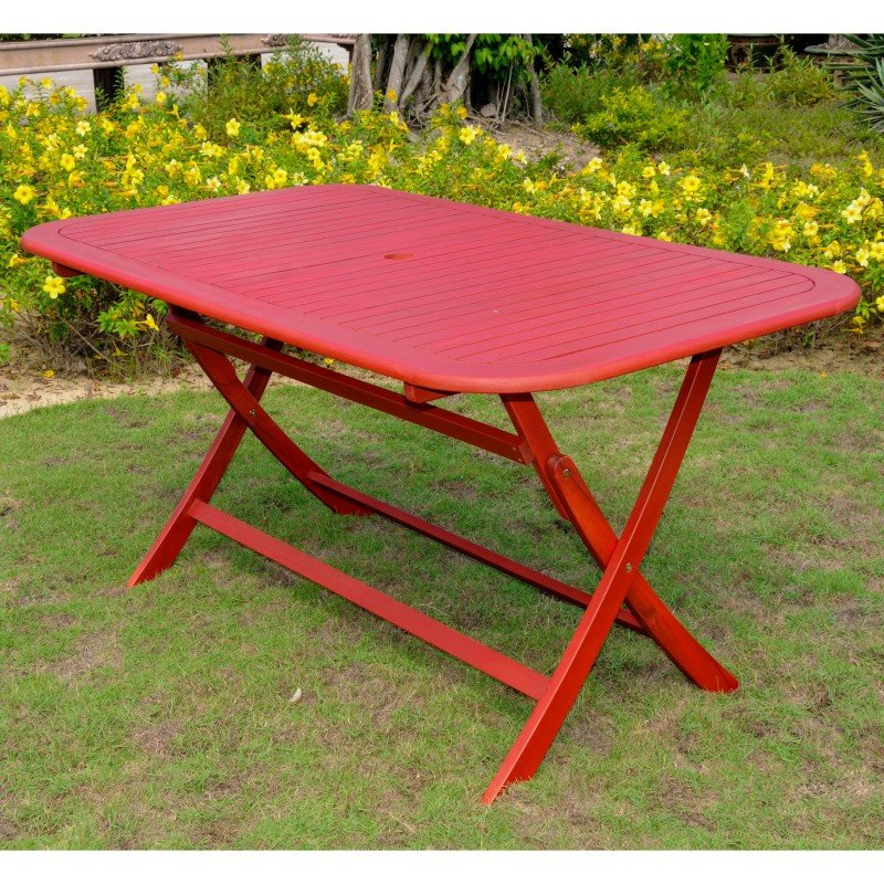 International Caravan Acacia Rectangular Folding Table in Barn Red