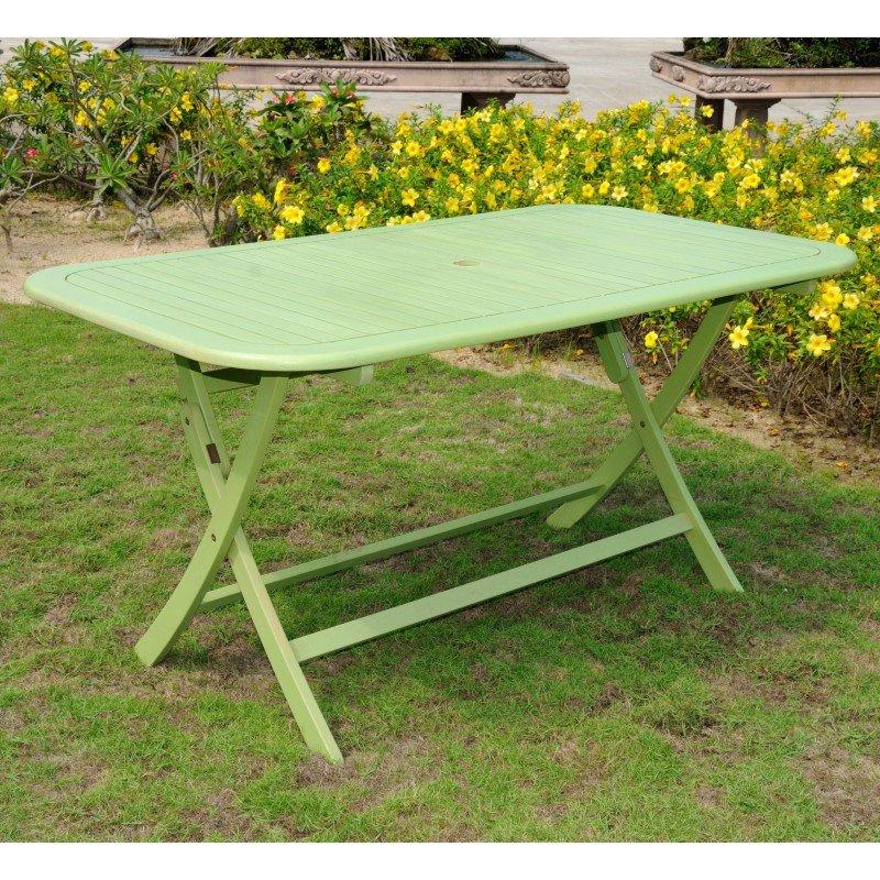 International Caravan Acacia Rectangular Folding Table in Mint Green