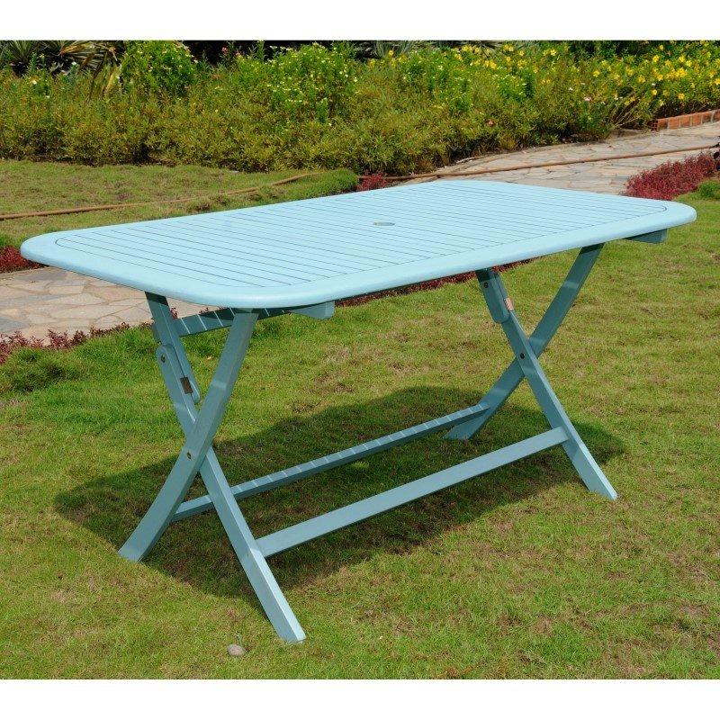 International Caravan Acacia Rectangular Folding Table in Sky Blue