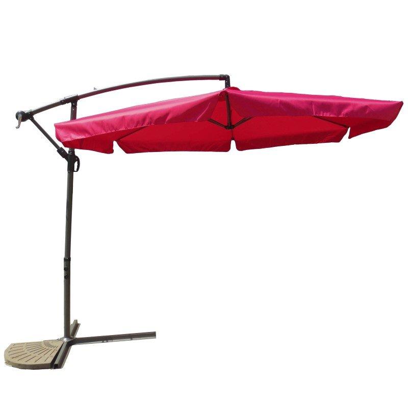 International Caravan Aluminum Cantilever Hanging Umbrella in Cranberry