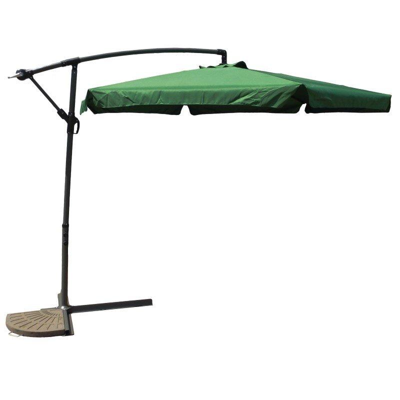 International Caravan Aluminum Cantilever Hanging Umbrella in Forest Green