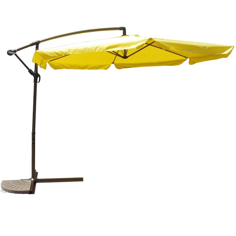 International Caravan Aluminum Cantilever Hanging Umbrella in Yellow