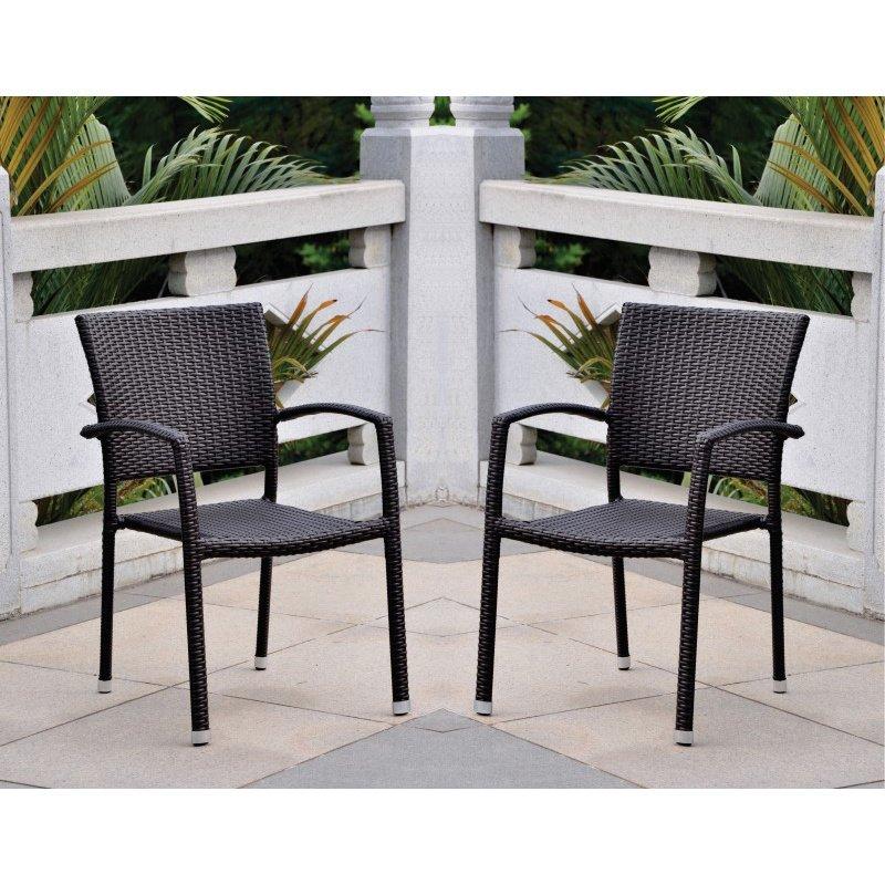International Caravan Barcelona 2-Piece Resin Wicker Square Back Dining Chair in Black