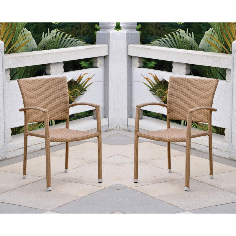 International Caravan Barcelona 2-Piece Resin Wicker Square Back Dining Chair in Honey