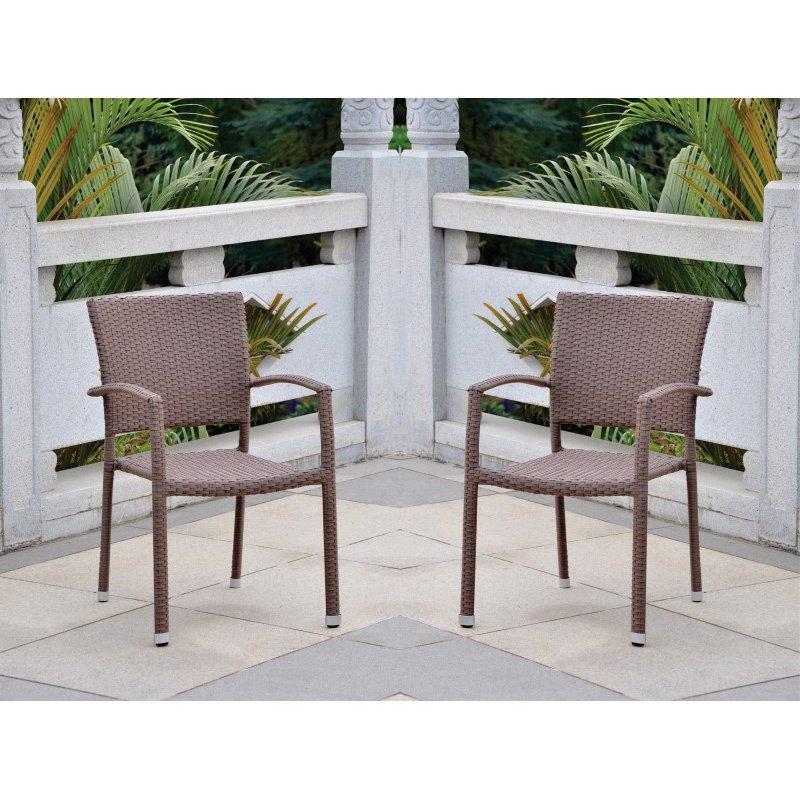 International Caravan Barcelona 2-Piece Resin Wicker Square Back Dining Chair in Light Brown