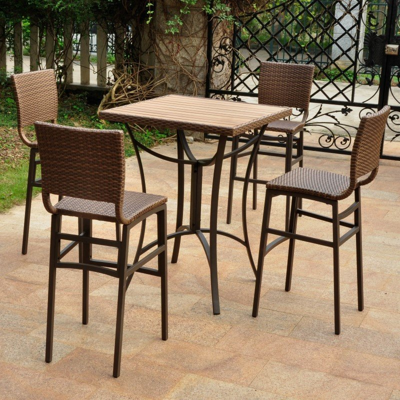 International Caravan Barcelona 5-Piece Resin Wicker and Aluminum Bar Bistro Set in Antique Brown