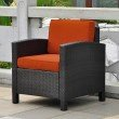International Caravan Barcelona Aluminum and Resin Chair with Cushions in Black Antique