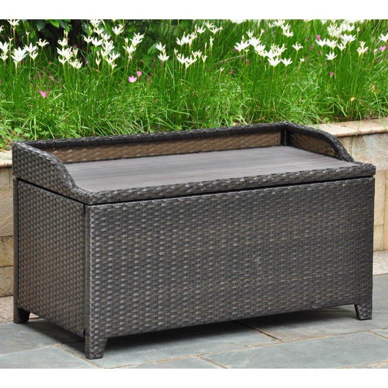 International Caravan Barcelona Resin Wicker and Aluminum Storage Bench with Edge Lip in Black Antique