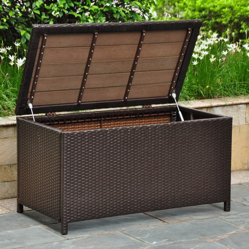International Caravan Barcelona Resin Wicker and Aluminum Storage Trunk in Chocolate