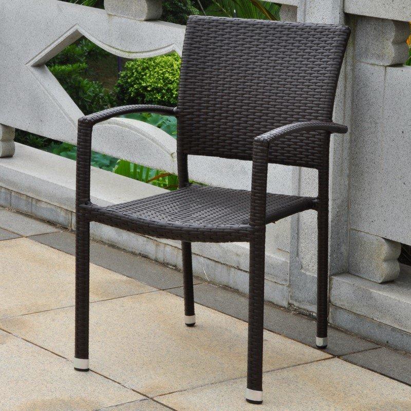 International Caravan Barcelona Resin Wicker Square Back Dining Chair in Chocolate