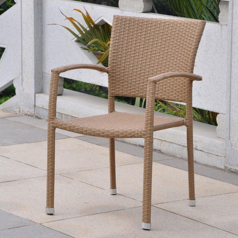 International Caravan Barcelona Resin Wicker Square Back Dining Chair in Honey