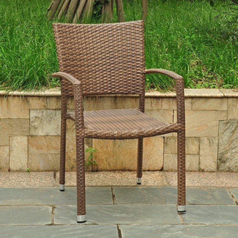 International Caravan Barcelona Resin Wicker Square Back Dining Chair in Light Brown