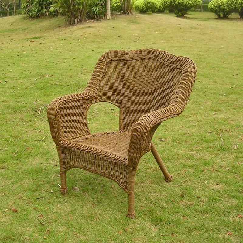 International Caravan Camelback Resin Wicker Patio Chairs (Set of 2) in Mocha
