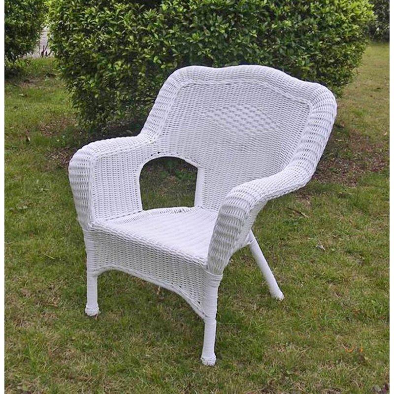 International Caravan Camelback Resin Wicker Patio Chairs (Set of 2) in White