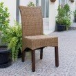 International Caravan Campbell Rattan Wicker Stained Dining Chair (Set of 2) in Brown Mahogany