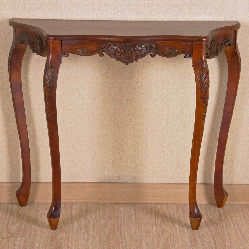 International Caravan Carved 4 Leg Scalloped Wall Table in Brown Stain