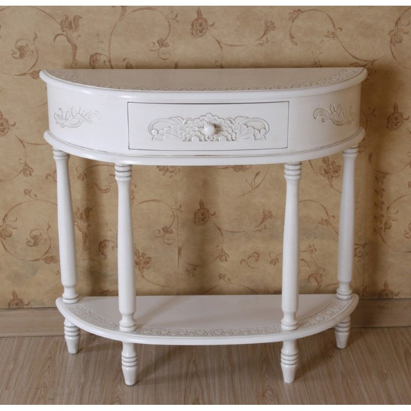 International Caravan Carved Half Moon Wall Table in Antique White